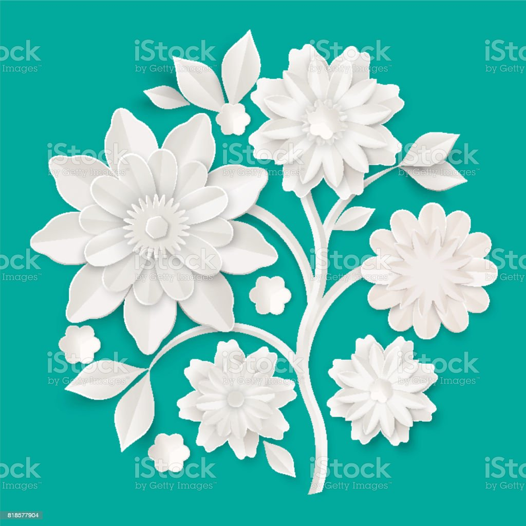 Graceful Stem With Charming Blossom Made Of Paper Stock Vector Art