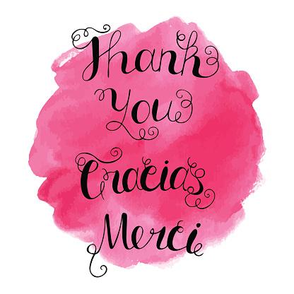 Gracias Merci Thank You Handwritten Lettering Stock