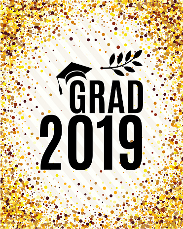 Grad 2019 class of greeting card with hat, laurel on striped and golden confetti backdrop for invitation, banner, poster, postcard. Vector illustration with golden background. All isolated and layered