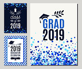Grad 2019 greeting cards set in blue colors. Three vector graduate party invitations. All isolated and layered