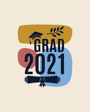 Grad 2021 greeting card with hat, laurel, abstract shapes on background in earth color for the invitation, banner, poster, postcard