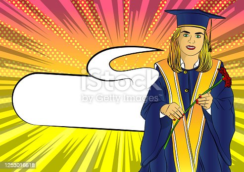Happy cute Caucasian grad girl. Wearing a blue mortar board, with yellow tassel, in gown, holding flower in hand - comic book style, cartoon vector illustration.