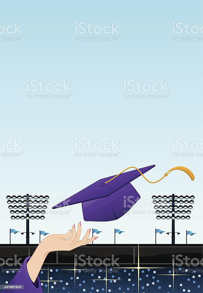 Grad Hat and Hand royalty-free stock vector art