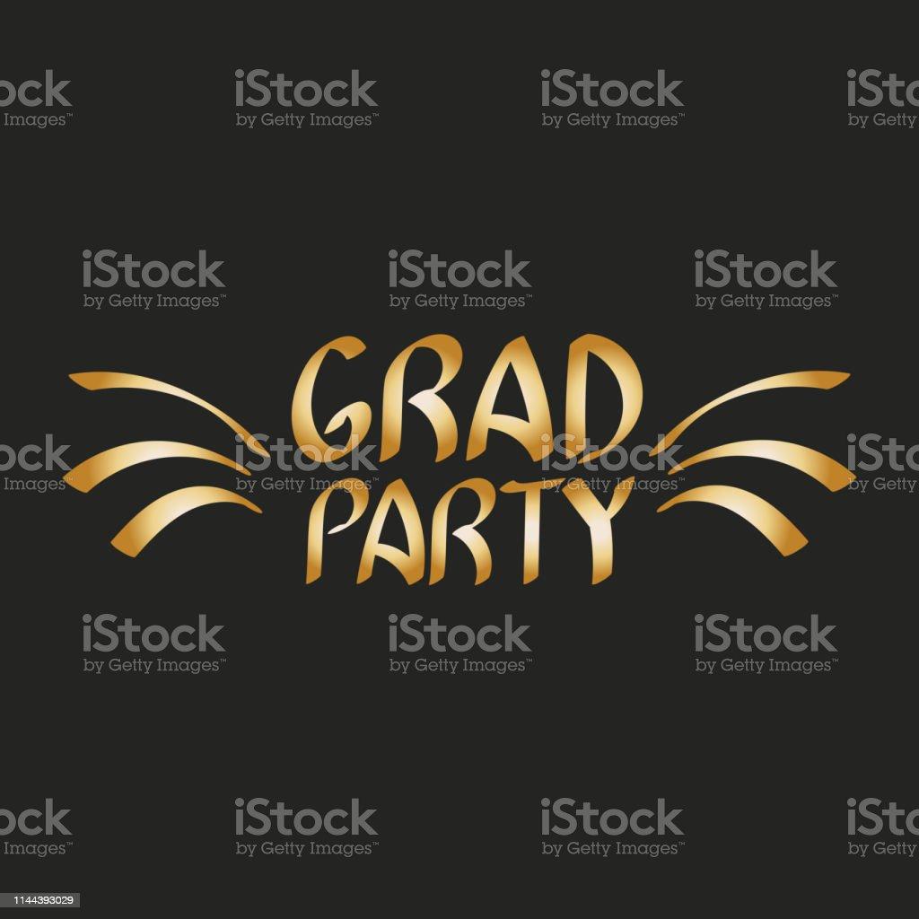 Grad party. Vector graduation design, high school or college...