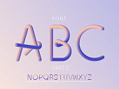 Grade 2 font. Vector alphabet letters and numbers. Typeface design.