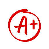 istock Grade A Plus result vector icon. School red mark handwriting A plus in circle 1136966571