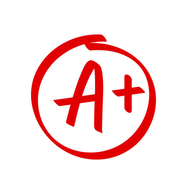 grade a plus result vector icon. school red mark handwriting a plus in circle - homework stock illustrations