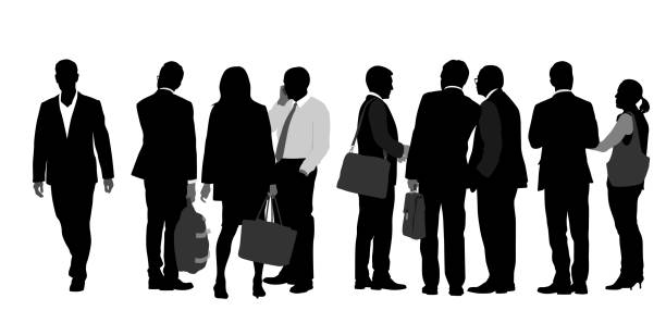 A Grade Above Group of white collar professional standing and talking business silhouettes stock illustrations