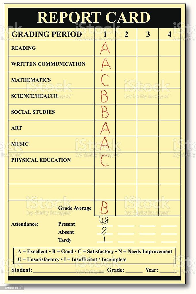 Grade Card - Report Card vector art illustration