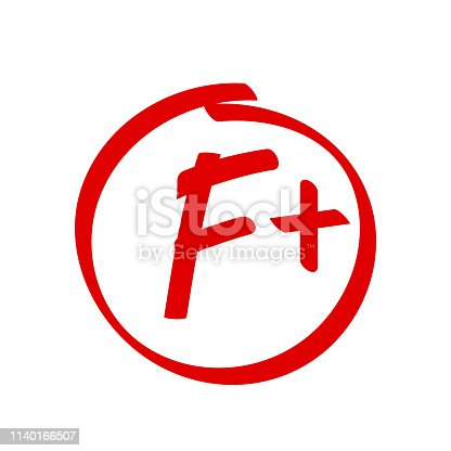 Grade F Plus result vector icon. School red mark handwriting F plus in circle