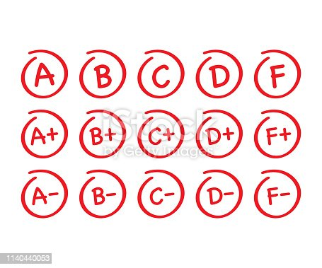 Grade results set. Hand drawn vector grade in red circle. Vector stock illustration.