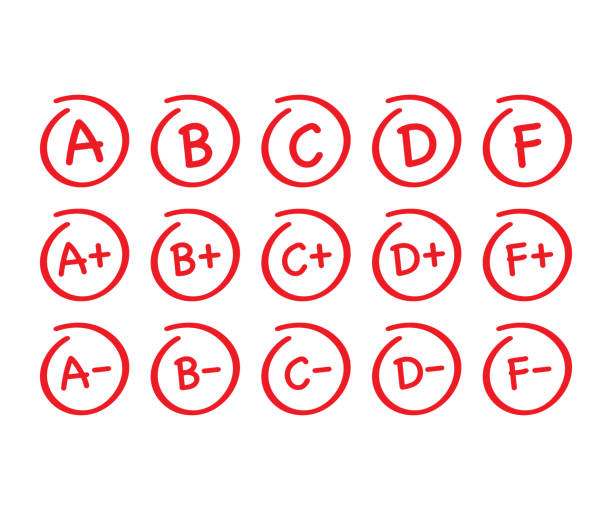 bildbanksillustrationer, clip art samt tecknat material och ikoner med resultat uppsättning. handritad vektor kvalitet i röd cirkel. vektor illustration. - examensresultat