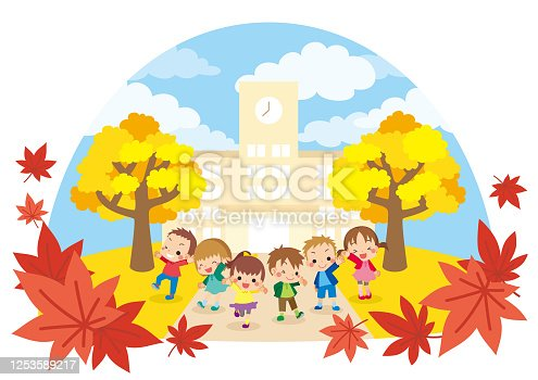 istock Grade school student in Autumn 1253589217