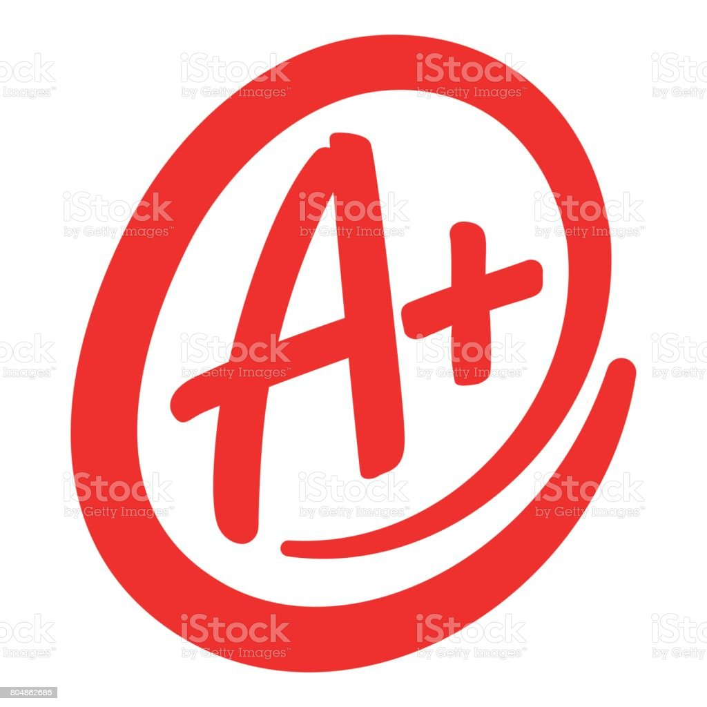 A+ grade text graphic vector art illustration