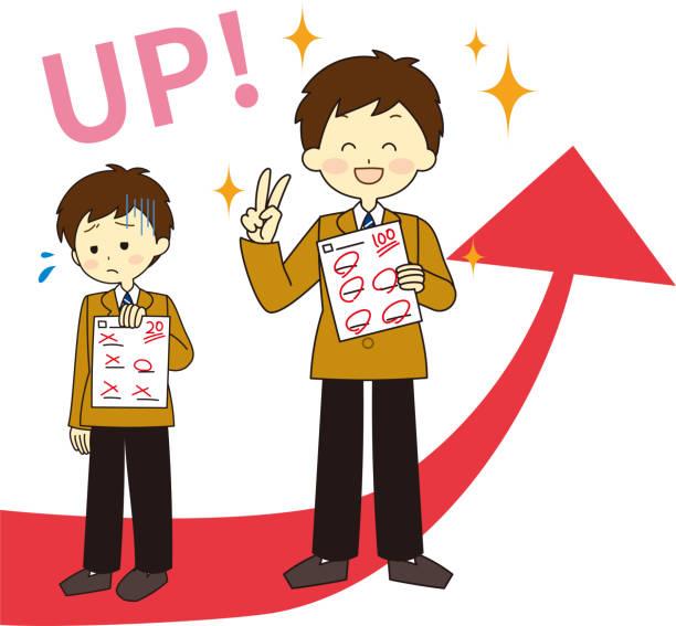 illustrazioni stock, clip art, cartoni animati e icone di tendenza di grafico graduato e studente - esame maturità