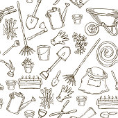 Seamless pattern With Garden Tools for Coloring. Brown Contours on White Background