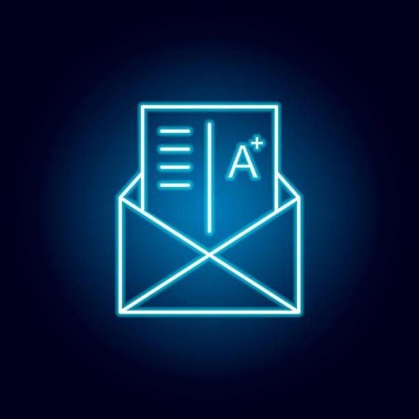 noten, prüfung, buchstabe, markieren umriss-symbol im neon-stil. elemente der bildungsillustration linie symbol. zeichen, symbole können für web, logo, mobile app, ui, ux verwendet werden - buchstabenschreibweise stock-grafiken, -clipart, -cartoons und -symbole