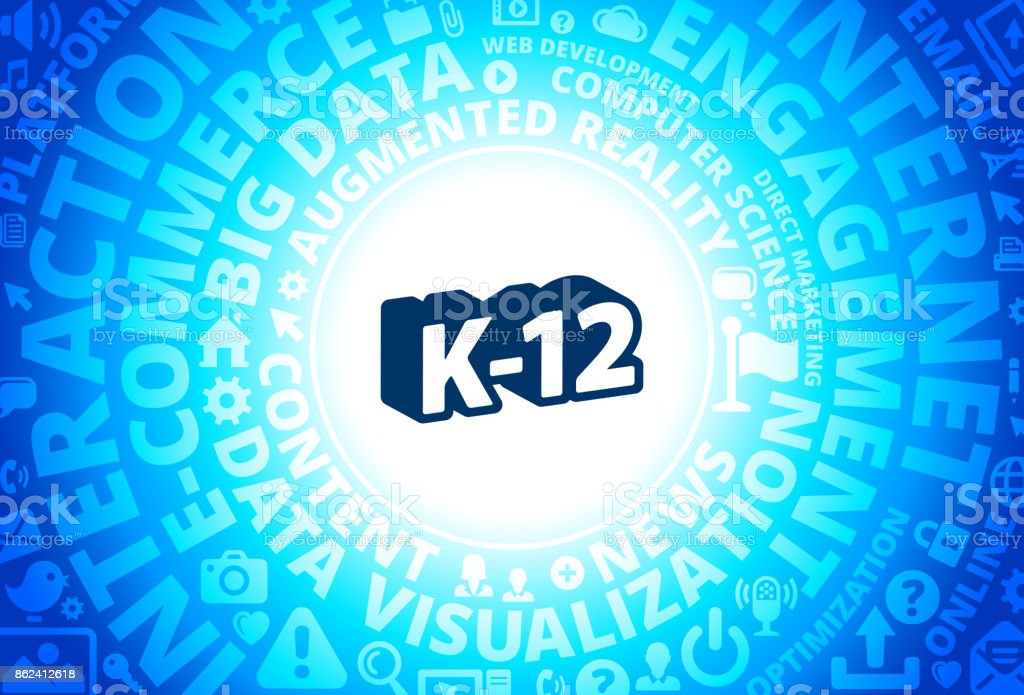 K12 Grades Icon On Internet Modern Technology Words Background Stock