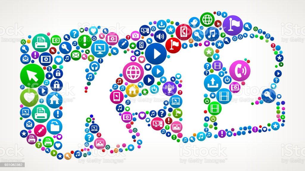 K-12 Grades Internet Communication Technology Icon Pattern vector art illustration