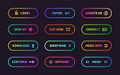 Gradient action buttons. Flat web submit form, modern transition sign, game navigation ui design element. Vector gradient button set