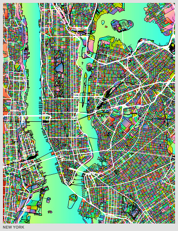 gradient art map of New York city structure