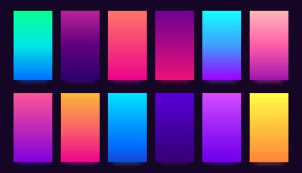 stockillustraties, clipart, cartoons en iconen met achtergrond met kleurovergang. kleurrijke verlopen, vervaagde kleuren en levendige smartphone achtergrond vector achtergronden collectie - kleurenverloop