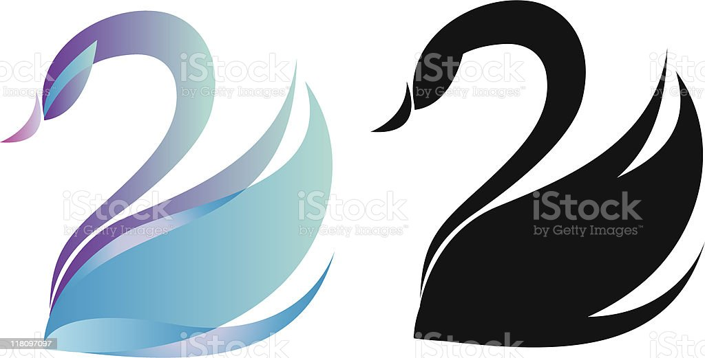 Gradient blue and black swan silhouettes vector vector art illustration