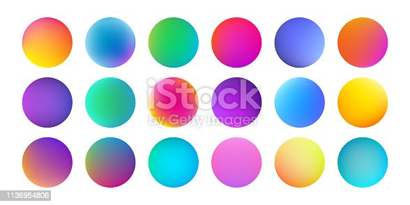 Gradient color circles with watercolor holographic texture. Vector abstract liquid fluid paint color splash pattern background