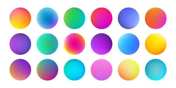 Gradient color circles with watercolor holographic texture. Vector abstract liquid fluid paint color splash pattern background Gradient color circles with watercolor holographic texture. Vector abstract liquid fluid paint color splash pattern background color gradient stock illustrations
