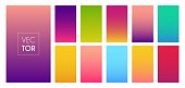 Gradient color modern bright background. Collection smartphone screen. Vector multicolor theme for stories or applications.