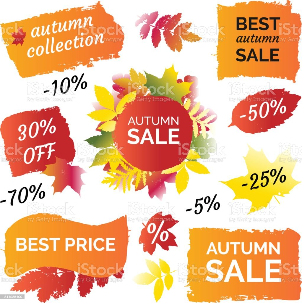 gradient colourful autumn leaves prints best price sale banner