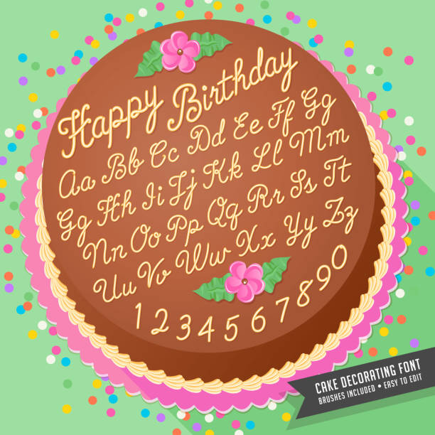 Gradient free vector cake decorator icing font with birthday cake Gradient free vector cake decorator icing font with birthday cake. Easy to edit, brushes included cake borders stock illustrations