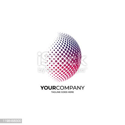 Globe icon logo with colorful dots. Earth logo template.