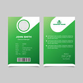 Gradient green employee id card templates design. Vector illustration EPS 10