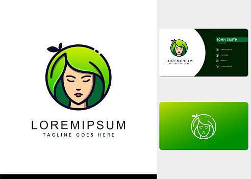 Gradient green hair leaves natural women circle Logo design inspiration and business cards