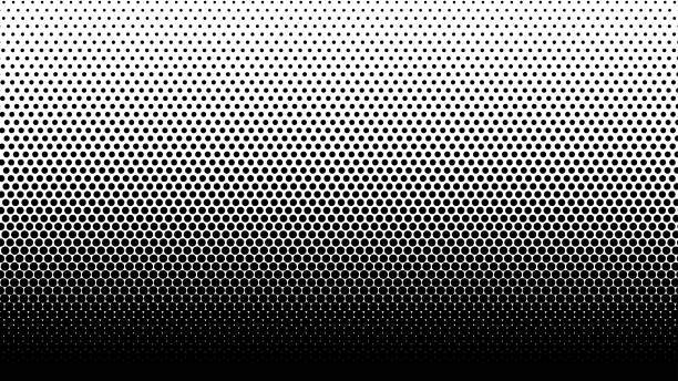 gradient halftone dots background vector illustration. black white dots halftone texture. - half tone stock illustrations, clip art, cartoons, & icons