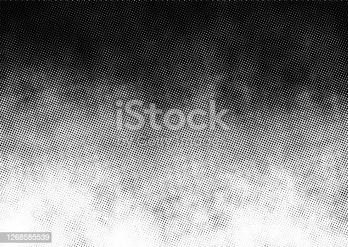 Gradient halftone vector texture overlay. Monochrome abstract splattered background.
