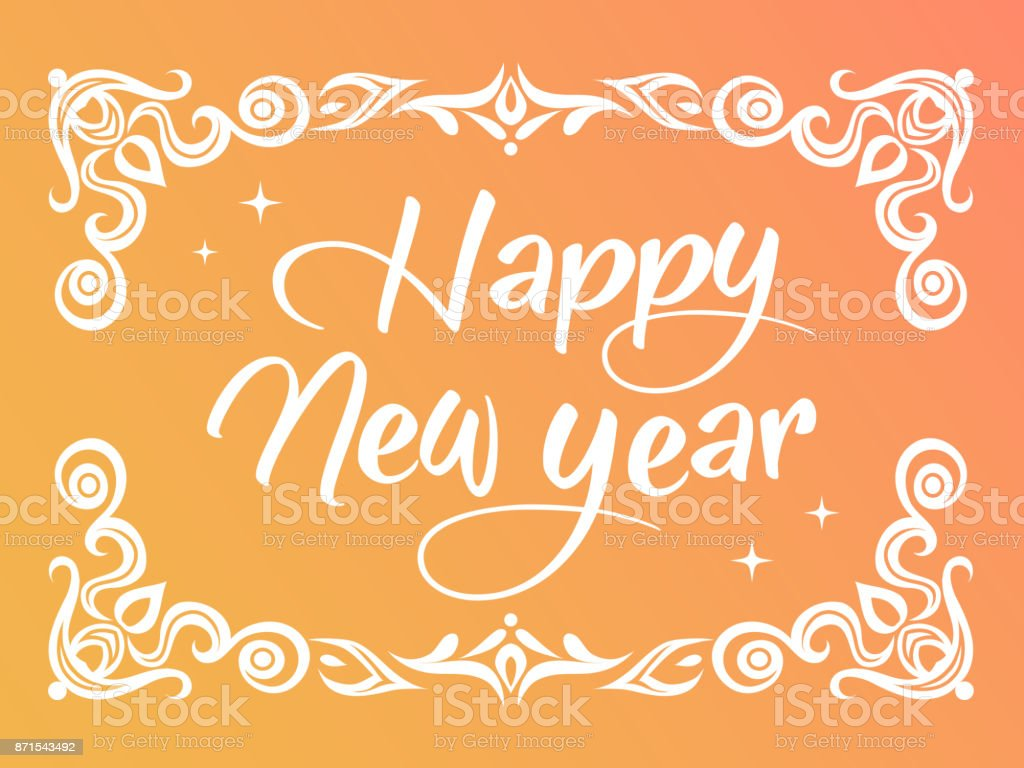 gradient happy new year word with ornamental graphic border royalty free gradient happy new year