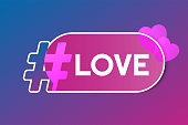 Gradient Hashtag with pink speech bubble and hearts concept illustration.  Vector icon sharing them in social media. Modern design for banner, poster slogan - love. St. Valentine day greeting card