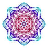 Gradient mandala. Circle ethnic ornament. Hand drawn traditional indian round element. Spiritual meditation yoga henna theme. Unique print. Template for design