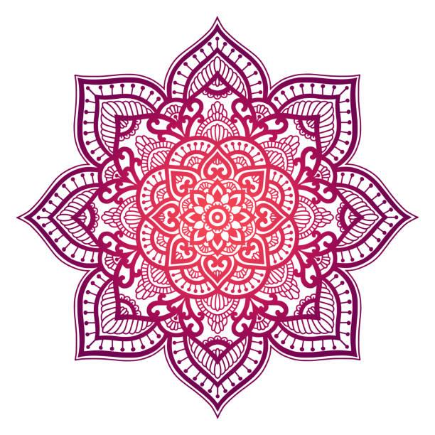 stockillustraties, clipart, cartoons en iconen met kleurovergang mandala. cirkel etnische sieraad. hand getrokken traditionele indische ronde element. spirituele meditatie yoga henna thema. unieke afdrukken. sjabloon voor het ontwerp. - indiase cultuur