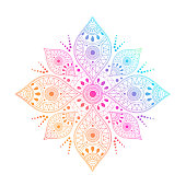 Gradient mandala on white isolated background. Vector boho mandala in green and pink colors. Mandala with floral patterns. Yoga template