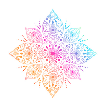 Gradient mandala on white isolated background. Vector boho mandala in green and pink colors. Mandala with floral patterns