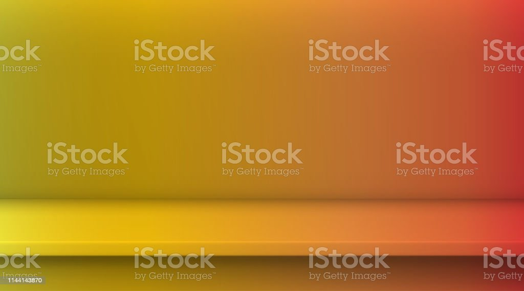 Gradient mesh vector table. Background of empty vivid yellow red...