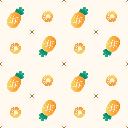 Gradient Minimal Pineapple Vector Pattern Design Ivory Cream Beige Background Editable Stroke. Cartoon Illustration Cloth, Picnic Mat, Fabric pattern, Textile, Tile, Scarf, Wrapping Paper.