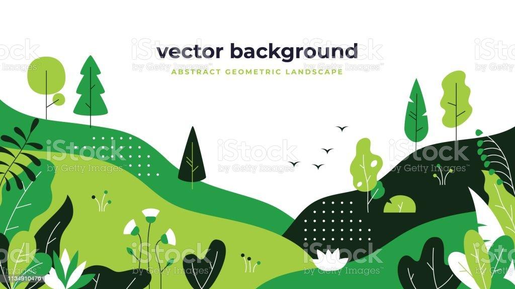 Gradient plant landscape. Minimal flat leaves design, color gradation cartoon background, forest plants. Floral nature poster - Royalty-free Ao Ar Livre arte vetorial