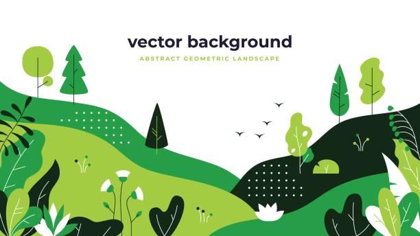 梯度植物景觀。最小的平葉設計, 色彩坡形卡通背景, 森林植物。花卉性質海報 - 大自然 幅插畫檔、美工圖案、卡通及圖標