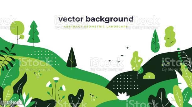 Gradient Plant Landscape Minimal Flat Leaves Design Color Gradation Cartoon Background Forest Plants Floral Nature Poster - Arte vetorial de stock e mais imagens de Ao Ar Livre