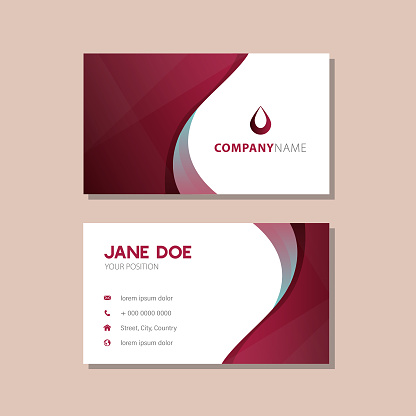 gradient red and blue waves business card design