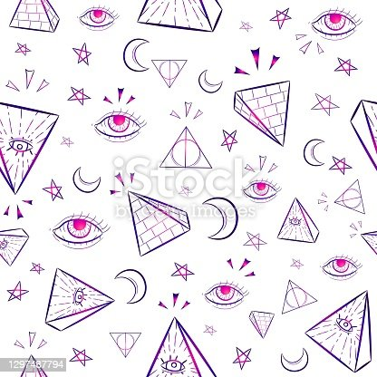 istock Gradient seamless pattern with occult illuminati symbols. Repetitive occult and conspiracy background with triangles, eyes, moon and stars. 1297487794